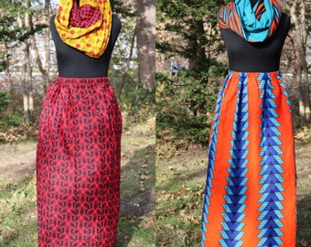 African Print Maxi Skirt // Unlined Cotton Maxi Skirt