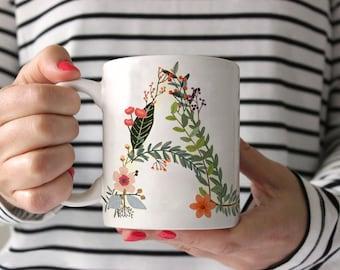monogram coffee mug letter coffee mug floral letter mug personalized mug initial coffee mug