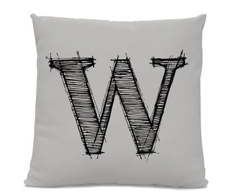 Initial Pillow - Letter Pillow - Pillow with Letter W - Monogrammed Pillow - Custom Throw Pillow