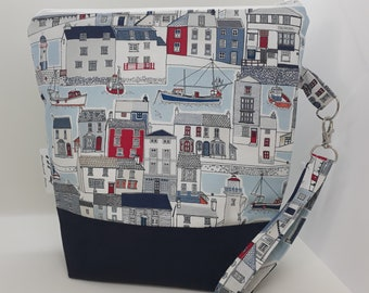 Medium project bag, Zipped project bag, Harbour scene project bag, Summer project bag, Nautical project bag, Craft bag, Knitting bag
