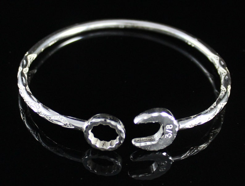 West Indian Bangle in .925 Sterling Silver Diamante pattern with Mechanic Spanner Heads and .150 thickness **CLEARANCE**