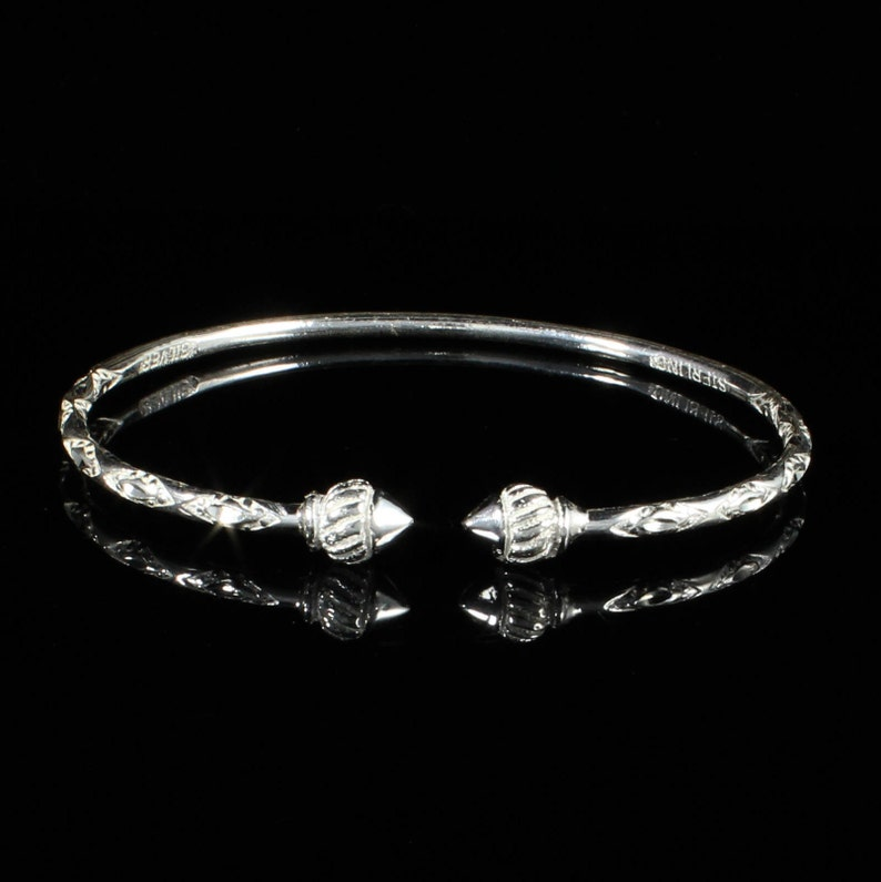 Baby and Child West Indian Bangle in .925 Sterling Silver Diamante pattern with Taj Mahal Ends with .110 thickness