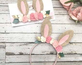 Woodland Birthday Bunny Ears- Bunny Headband- Easter Headband- Some Bunny is One, Felt Flower Headband- Bunny Ears Headband
