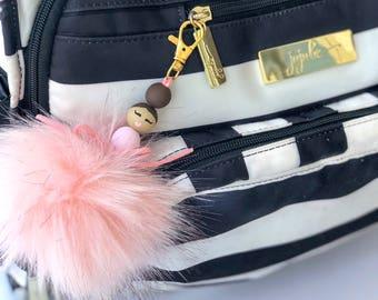 Pom pom keychain, Faux fur keychain , faux fur pom, ballet gift, pom keychain, ballerina gift for kids, Dance recital gift, furry keychain