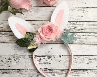 Bunny Ears Headband, some bunny is one, Bunny Headband , Baby Bunny Ears , bunny party, flower bunny ears, bunny ears Headband, Floral Crown