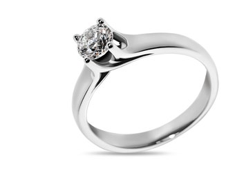 Solitaire engagement ring in 18kt white gold with certified diamond 0.30ct. Natural diamond solitaire engagement ring.