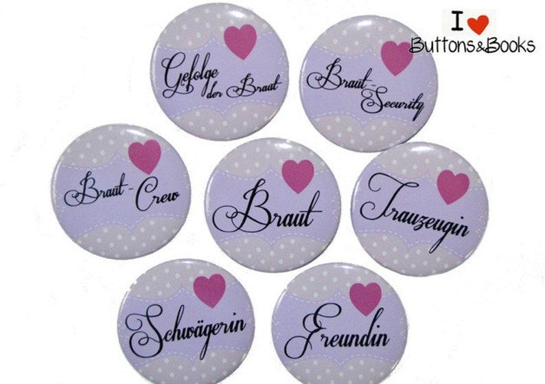 Brautschmuck 9x Jga Button Set 59mm Team Braut Buttons Set Braut Party