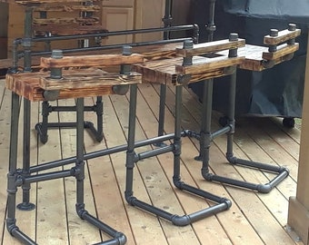 Awesome Pipe Stool Etsy Creativecarmelina Interior Chair Design Creativecarmelinacom
