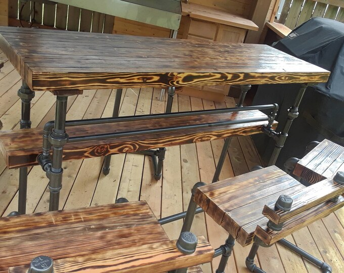 Featured listing image: BAR, Torched bar top, wood and steel indoor/outdoor bar furniture.  Pick your size.