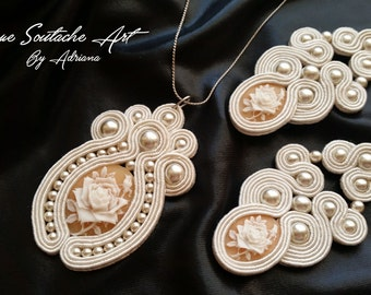 Sandstone Unique Beige and Sand set of soutache earrings and necklace Oneofakind Bridal jewelry Vintage Wedding Oldfashion