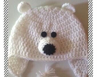 9675b3f8f7d Bonnet Ours Blanc au Crochet - Bonnet Bébé Enfant - Bonnet  Adolescent Adulte - Tricotés Main - Bonnet avec Cache Oreilles - Cadeau de  Noël