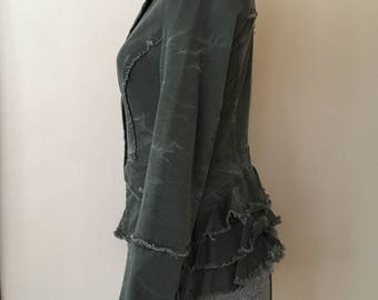 Free People Army Green Distressed Jacket with Ruffled Bustle & Corset Laced Cuffs