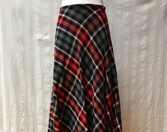 1970\u2019s Vintage Fall Plaid Straight Pencil Skirt Cotton Red Yellow Blue Autumn Midi Skirt With Pockets