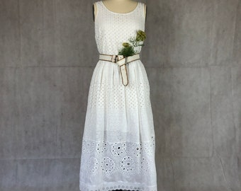 Upcycled Vintage Eyelet Spring/Summer White Dress - On Trend for 2021 - One of a Kind Cottage
