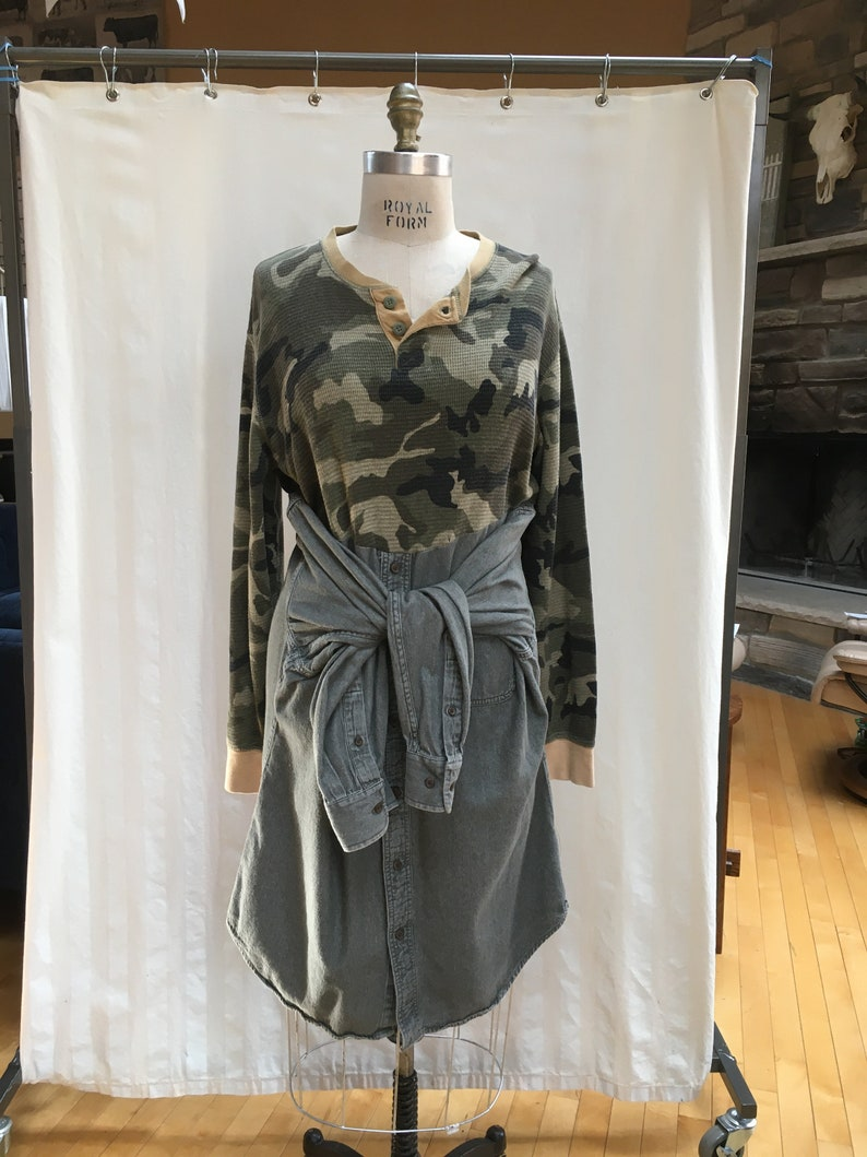 Upcycled Repurposed Thermal CamouflageOlive Shirt Multi-LookOctopus Dress