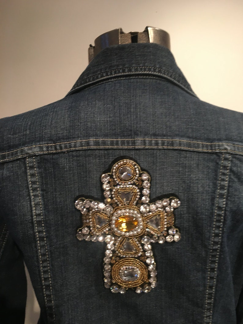 13b3f136a Upcycled Chico's Platinum Denim Jean Jacket with Jeweled Cross Applique -  Chanel Inspired