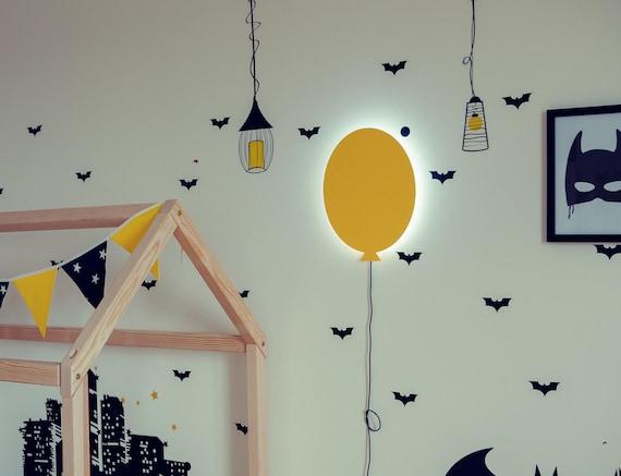 Baloon lamp for children bedroom, lamp shade, kids room light up baloon,  batman style boys room, play area lighting decor, interior design