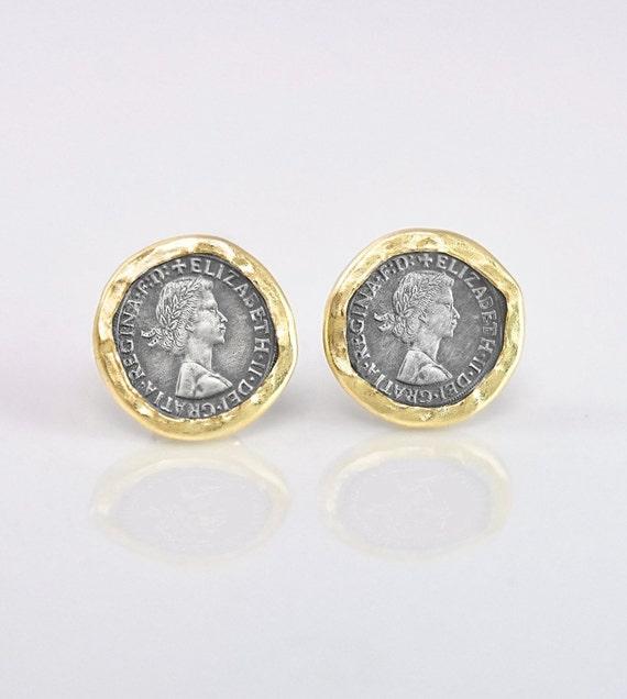 Sterling Silver 925 Oxidized Silver Coin Earrings Coin Earrings Oxidized Stud Silver Coin Studs Elizabeth II Coin Stud Queen Elizabeth