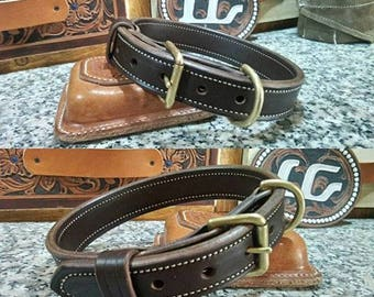 "1 1/4"" full grain leather double ply dog collar"