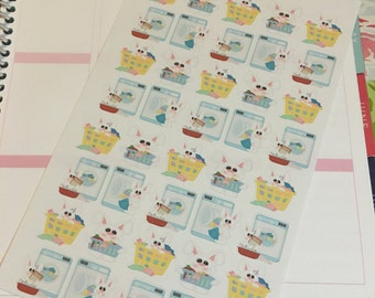 Planner Stickers: Laundry Bunnies