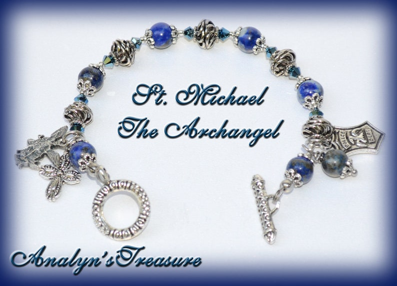 Pocket Rosary One Decade Rosary Michael Chaplet Lapis Rosary Natural Lapis Lazuli Catholic//Religious Gift US Army Personalized St