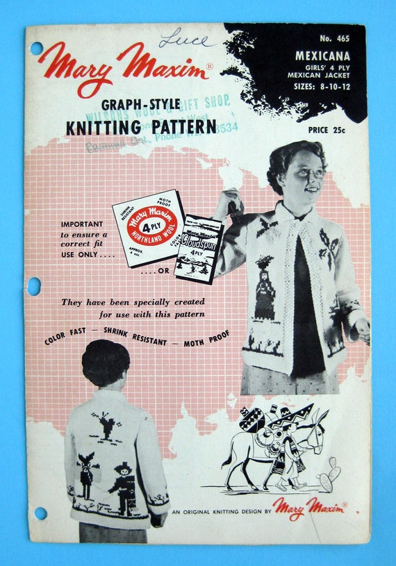 Mary Maxim pattern 465 Mexicana Original 1955 knitting pattern Girls Mexican Jacket size 8 to 12