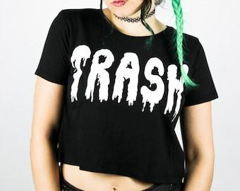 """Fairtrade Crop Shirt """"Trash"""" / Größen S M L / Shittyfucky Einzigartiges Design / Punk Grunge Alternative Goth"""
