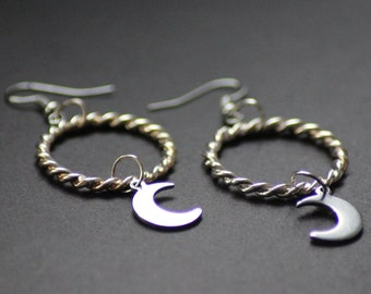 UNIQUE Handmade Silver Moon Ring Earrings Unique Space Pastel Goth Hippie Grunge Moonchild Festival Shittyfucky