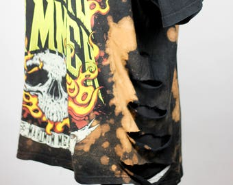 RENEWED VINTAGE Black Shirt Metal Hammer Cut Outs Bleached Distressed Shredded Holes Acid Washed Grunge Punk Metal
