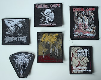 Vintage Metal Patches, 90s Death Doom Thrash Black Metal, Rare Patch Collection, Grave, Napalm Death, Cannibal Corpse, Dark Throne