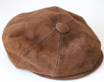 Vintage Brown Suede Leather Balloon Hat Slide Cap Biker Rare Motorcycle Rock Punk Grunge Alternative Hippie Boho