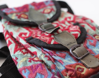 Vintage Colorful Mini Backpack Little Bag Party Hippie Boho Aztec Grunge Punk Alternative Festival Hipster Trash Minibackpack Minibag
