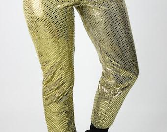 73908a611af5ea Vintage Highwaist Leggings Gold Pailletten M Glänzend Glitzer Stretch Hose  Retro Punk Grunge Goth Gothic Larp Cyber Alternative Fasching