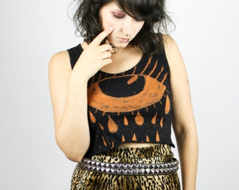 "SHITTYFUCKY Bleached Crop Top ""Sad Eye"" - Size S - Crying Tears Unique Acid Tanktop Sad Girls Club Punk Grunge Alternative Metal Trash DIY"