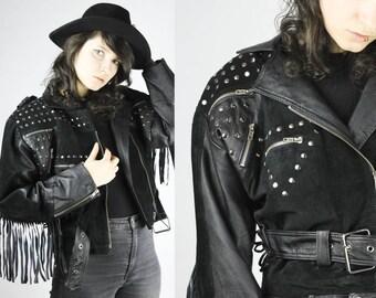 Vintage Black Leather Jacket Fringes Studs Suede Details Hippie Festival Grunge Punk Alternative Hipster Retro Unique Rare Rocknroll Metal