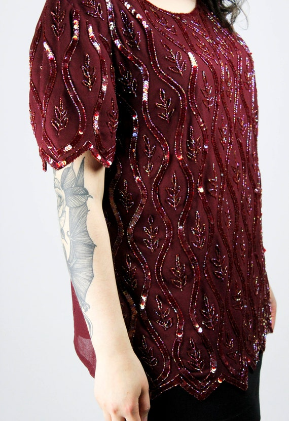 Vintage SEQUIN BLOUSE Bordeaux Dark Red Size L Shirt Sequins Glamour Glitter Shimmer Party Disco Shiny Chic Gothic Grunge 70s Alternative