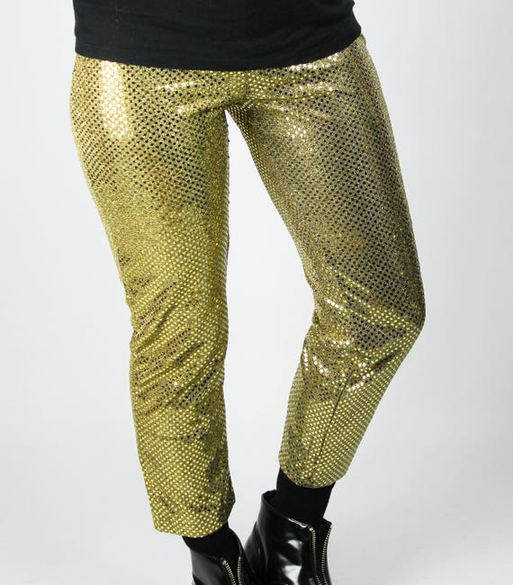 Karneval Klamotten Disco Stiefel Pailletten Gold goldene