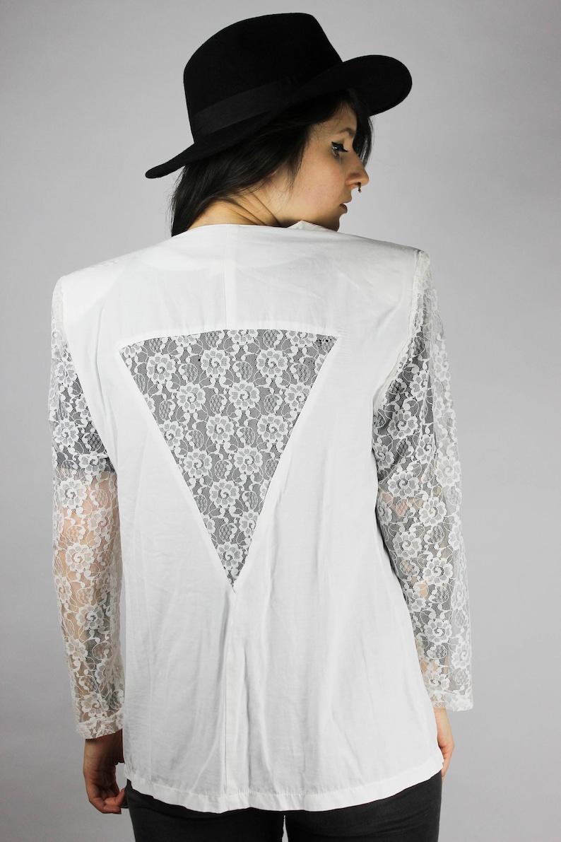 20a7272cfc57e Vintage weiße Bluse Blazer Jacke Spitze Details Cutout | Etsy