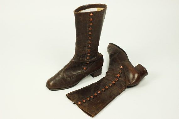 True Vintage 30's Brown Boots Size EU 41, Handcraf