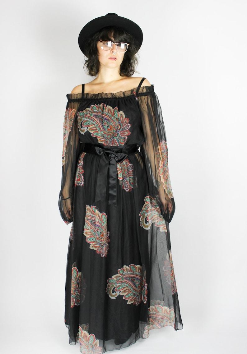 S Floral Pattern Chiffon Bow Transparent Sheer Hippie Boho Folk Festival Gypsy Colorful Print Dress Black Vintage 70s Maxi Dress PAISLEY