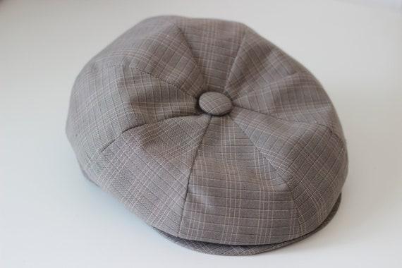 Vintage Brown Beige Slide Cap Checkered Vichy Fabric Hat Mod Topman Oldschool Biker Rare Rock Punk Grunge Alternative Hippie Boho