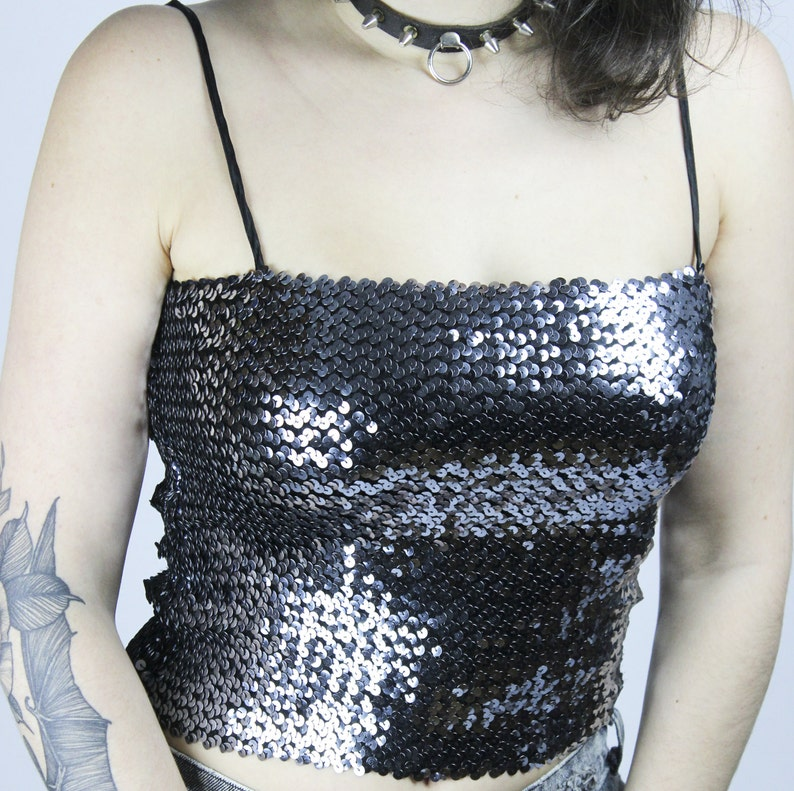 5ee9cccc308cf Vintage Silver Black Sequins Designer Top Size S Glamour Party