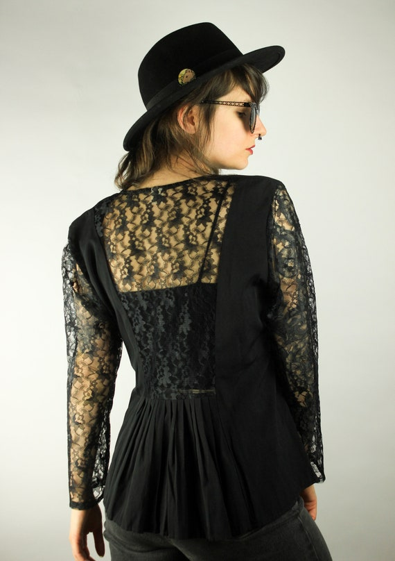 Vintage 80s 90s Black lace Top Blouse Mesh Floral Sheer Sleeveless Small XS S 12057