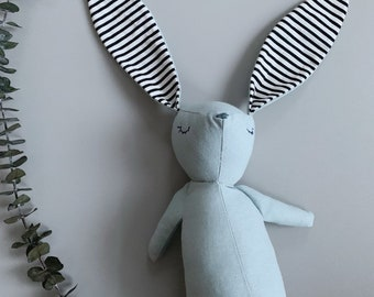 Blue Linen /& Cotton Dot Print Personalized Stuffed Narwhal with Organic Dried Lavender