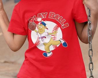 KIDS T Shirt- Blooper Mascot Play Ball Shirt- Braves Baseball