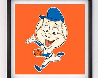 New York Mets Baseball Mascot Mr Met Poster Print Artwork Room Decoration