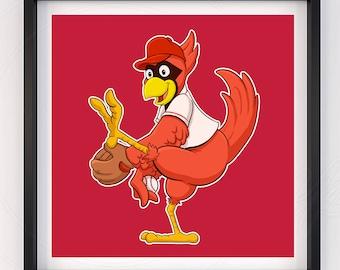 Saint Louis Cardinals Baseball Mascot Poster Print Baseball Decoration Fredbird