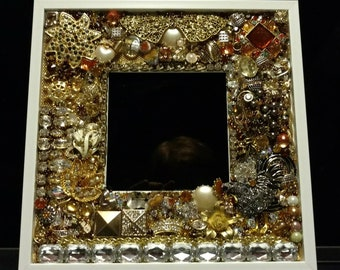 Recycled rhinestone jewelry picture frame matte