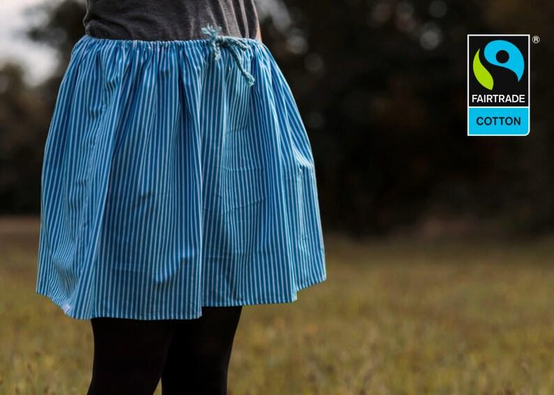 Fairtrade skirt blue and white stripes fair vegan organic image 0