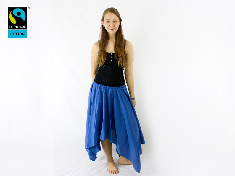 Fairtrade skirt blue asymmetric with lappet fair vegan image 0